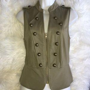 WETSEAL Military Vest Sleeveless Shirt Olive Green